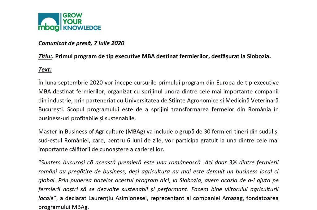 Agrii România susține primul program de tip executive MBA destinat fermierilor!